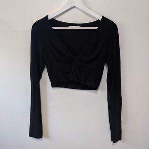Wilfred Black Long Sleeve V Neck Twist Front Crop Top Size Medium